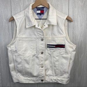 Vintage Tommy Jeans White Jean Jacket vest